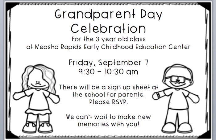 Early Childhood Grandparent Day 4 Year Old Preschool 2:30-3:25 pm