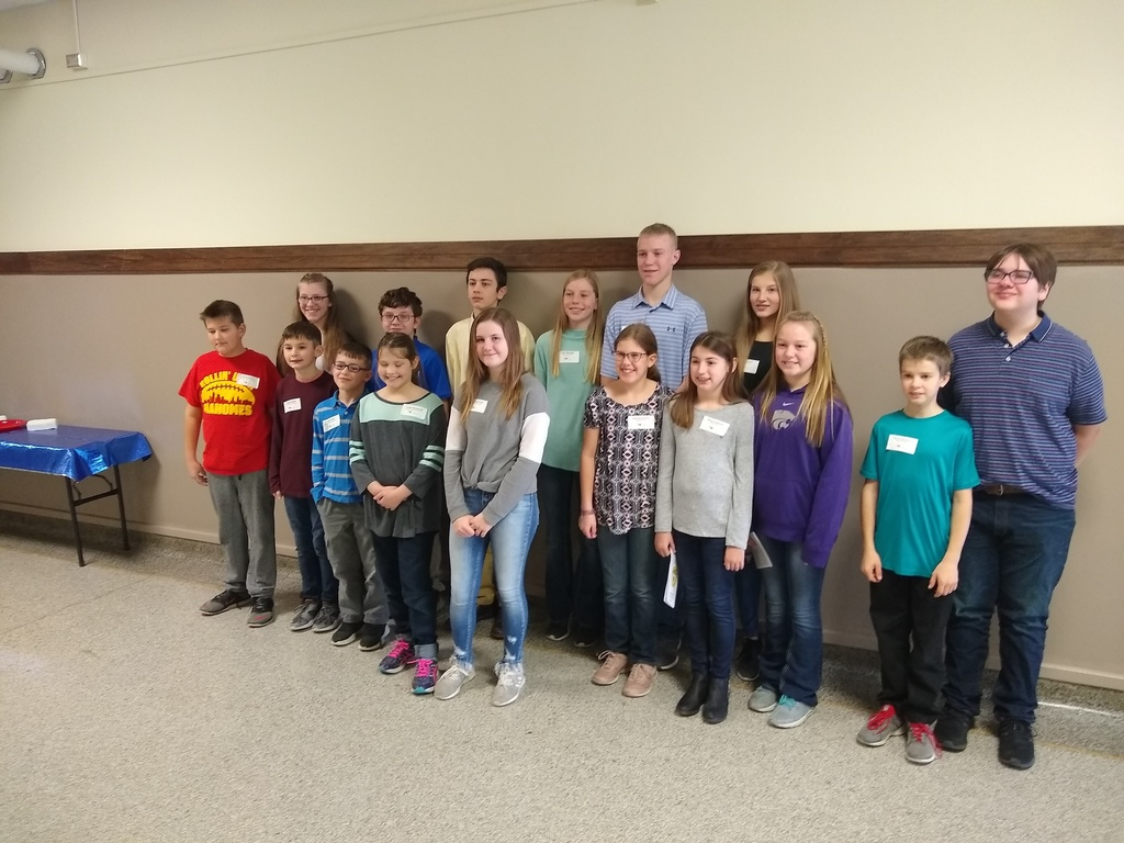 USD 252 students competing in the 2020 Lyon County Spelling Bee.
